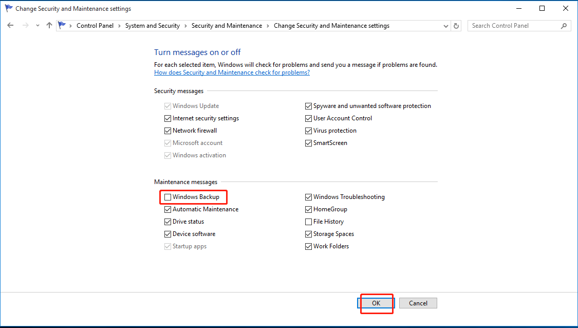 windows 10 disable system backup