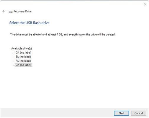 Select a USB Flash Drive