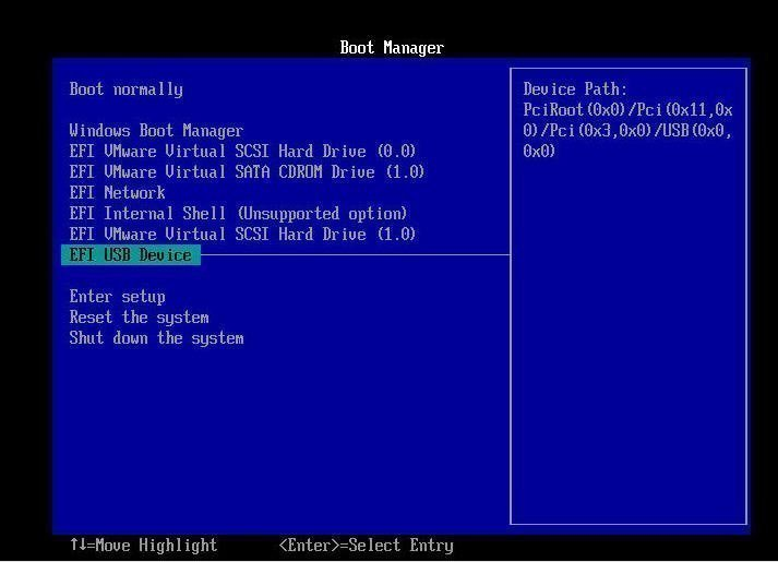 Boot from EFI USB Device