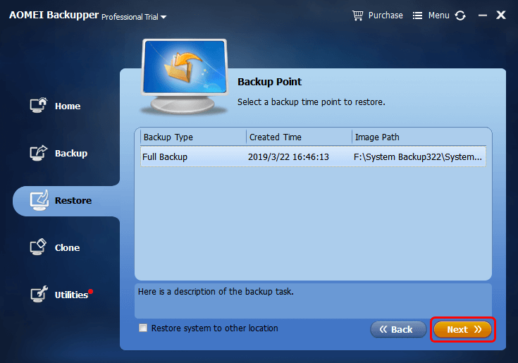 Select Backup Point