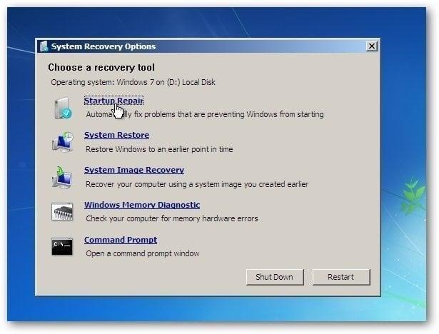 my windows 7 startup repair not working
