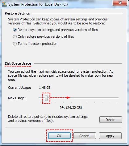 Adjust Disk Space Usage