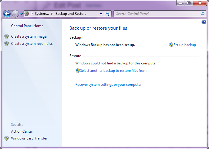 Windows7 Backup Unused