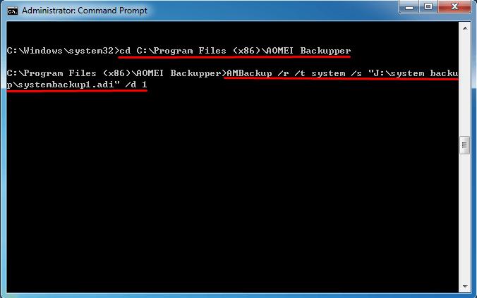 AMBackup Restore Windows 7 Command Line