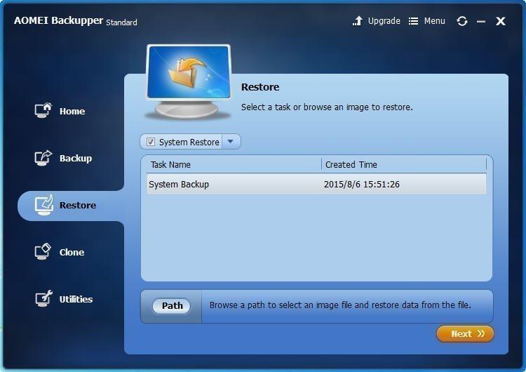 Click System Backup
