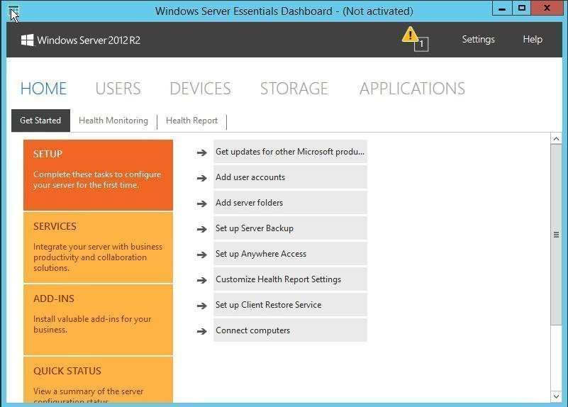 Windows Server Essentials Dashboard
