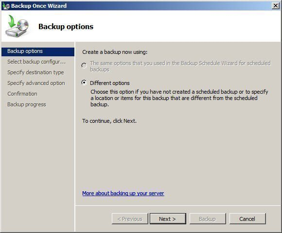 Select Backup Options