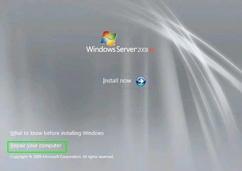 Repair Windows Server 2008 R2