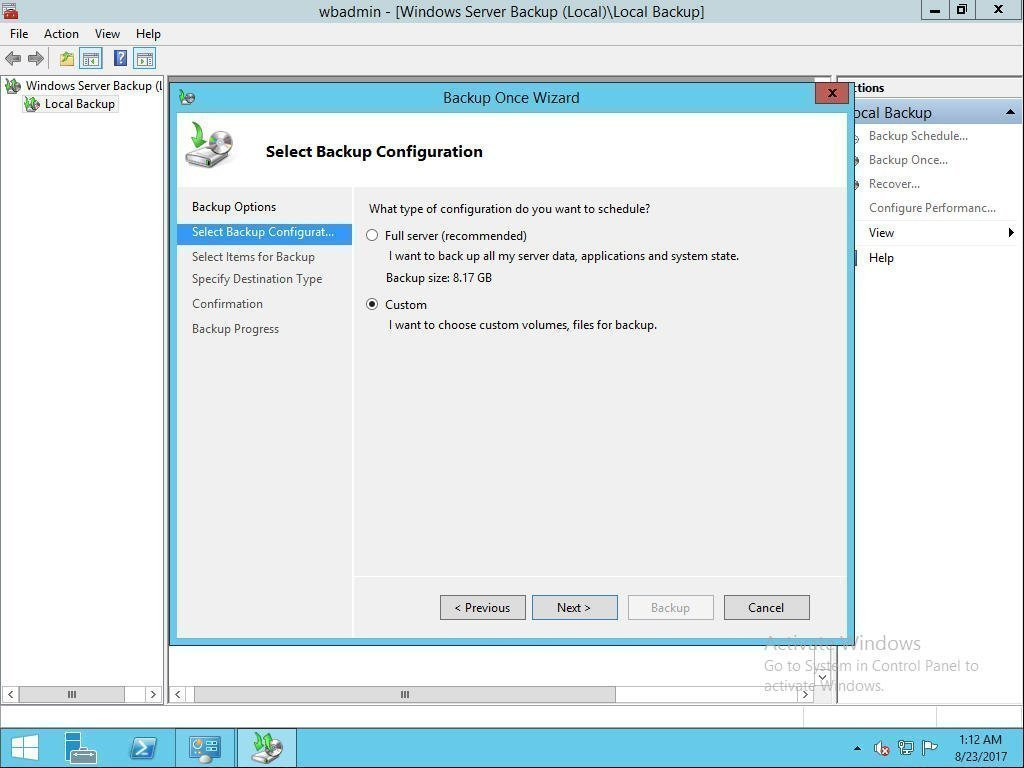 how to create a restore point for windows server 2016