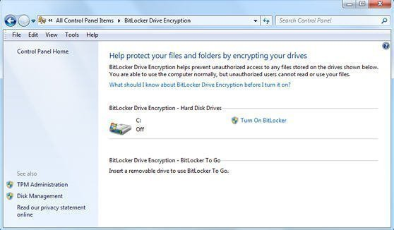 Enable BitLocker