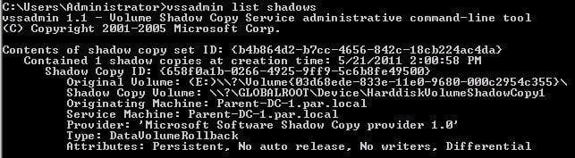 Vssadmin Listshadows