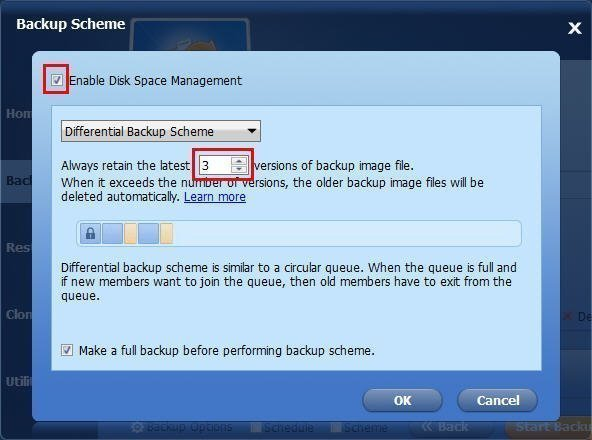 Enable Disk Space Management
