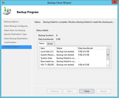 Sauvegarde de Windows Server arrêté
